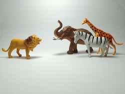 Group of plastic toy animals, Lion, elephant, zebra and giraffe with a fight style - Miniature Plastic Toy Animals on white background