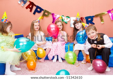 Group of preschool kids at the birthday party
