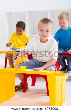 group of preschool kids in classroom