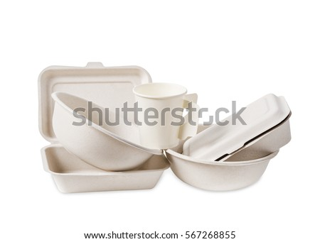 Group of product made from bagasse for container food, Box, bowl and cup. Isolated on white background, Clipping path. #567268855