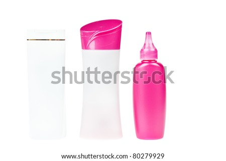 group of product packaging shampoo set. isolated over white background