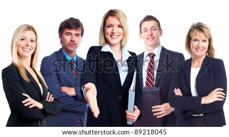 Group of professional business people. Isolated over white background.