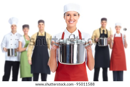 Group of professional chef baker. Isolated over white background.