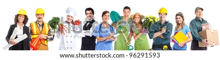 Group of professional industrial workers business people. Isolated over white background.
