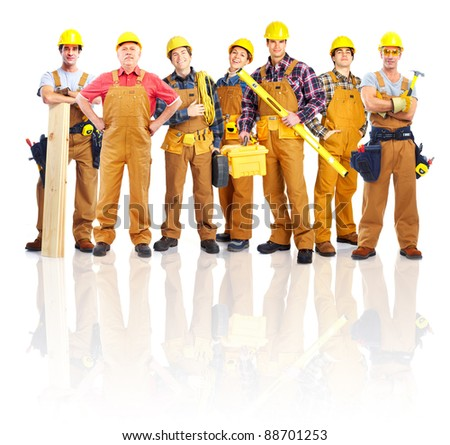 Group of professional industrial workers. Isolated over white background.