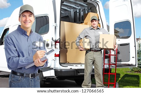 Group of professional post workers. Delivery service.