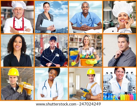 Group of professional Workers people collage background. #247024249