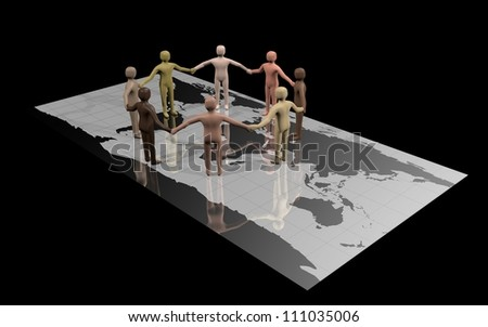 Group of racially diverse people standing on a world map and holding hands