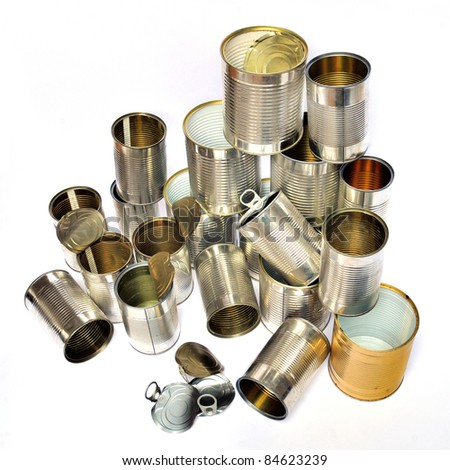 Group of recycling tins and cans on white background