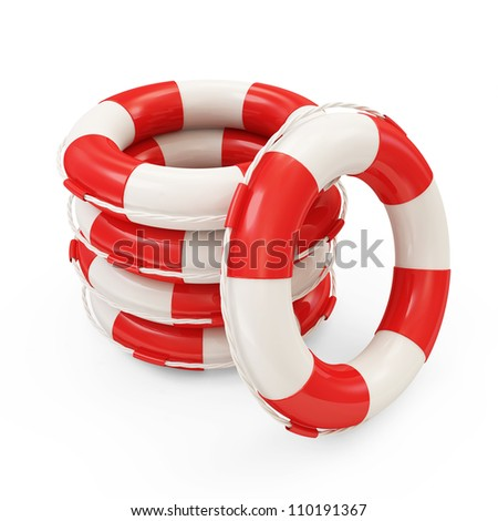 Group of Red Lifebelts isolated on white background