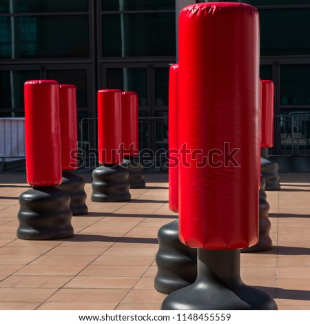 Group of Red Punching Bag for Kickboxing and Fitness Exercise #1148455559