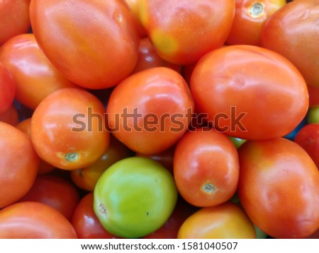 group of red tomato and green tomato. Tomato background #1581040507
