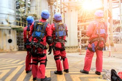 Group of Rescue fireman team with safety equipment ,harness and safety belts,Rescue concept.