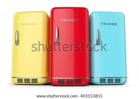 group of retro colored fridges...