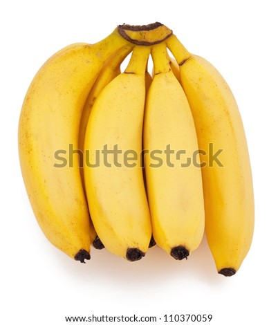 Group of ripe bananas on white background