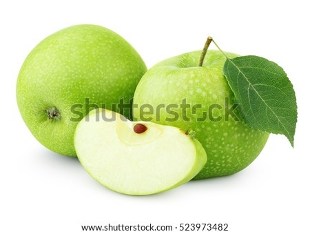 Group of ripe green apples with green apple leaf and green apple slice isolated on white background. Green apples and apple cut with clipping path
