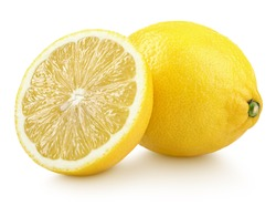 Group of ripe whole yellow lemon citrus fruit with lemon fruit half isolated on white background with clipping path