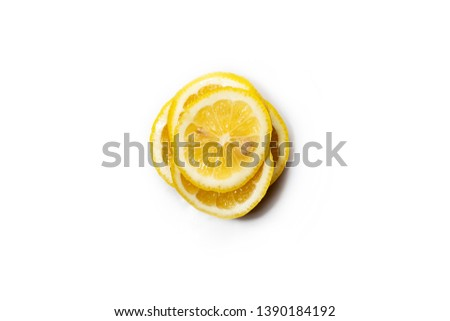 Group of ripe whole yellow lemon citrus fruit with lemon fruit half isolated on white background with clipping path #1390184192