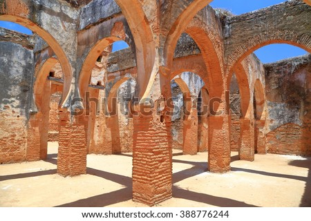 Group of ruined pillars and arches of the medieval Chellah Kasbah (Sala Colonia) near Rabat, Morocco