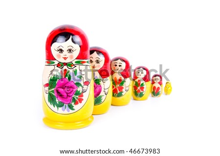 Group of Russian nesting dolls isolated on white