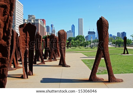 Group of Rusting Iron Headless Figures in Grant Park, in downtown Chicago