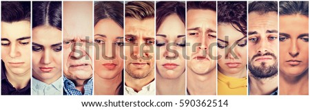 Group of sad people men and women. Negative human emotions