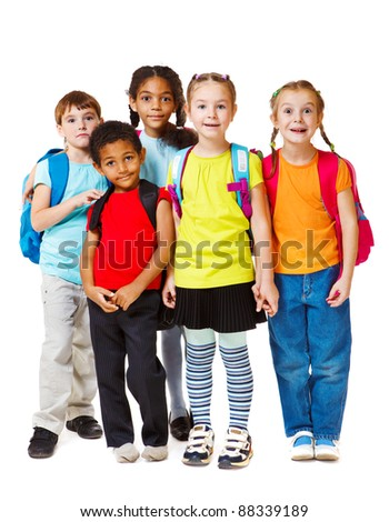 Group of school aged and preschool kids
