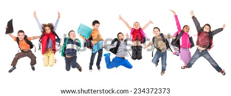 Group of school children jumping isolated in white #234372373