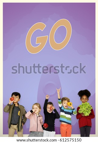 Group of school kids with aspiration word graphic #612575150