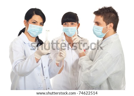 Group of scientist people having a discussion and  examine new plants in tubes isolated on white background