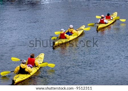 Group of senior citizens kayaking near Bar Harbor, Maine