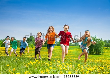Group of seven happy running in the park kids, boys and girls, black and Caucasian #159886391