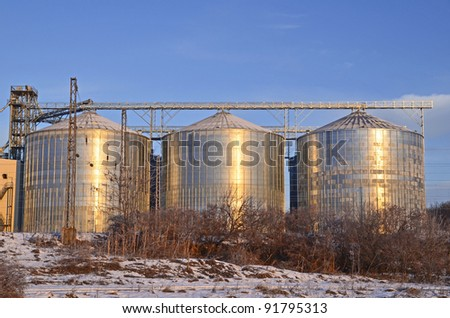 Group of silos filled with cereal grain against blue sky.
