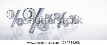 Group of silver percentage signs isolated on white background - sale or bargain concept - 3D illustration ストックフォト ©