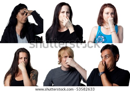 Group of six people holding their noses - bad smells in the air