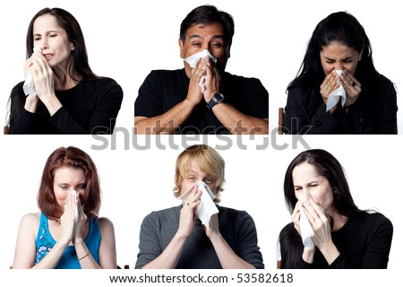 Group of six people, showing people sneezing