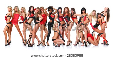 Group of sixteen beautiful young women poses in front of the chamber in full growth, isolated on a white background