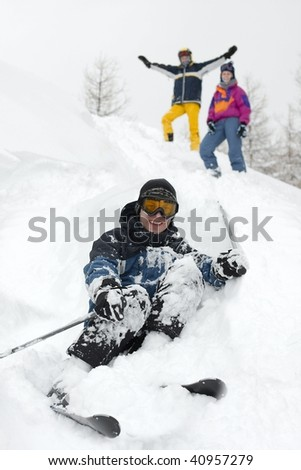 Group of skiers in the deep snow