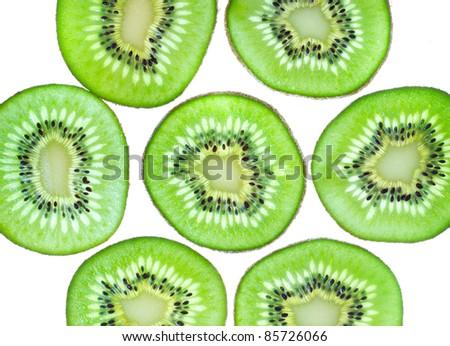 Group of slices  kiwi fruit