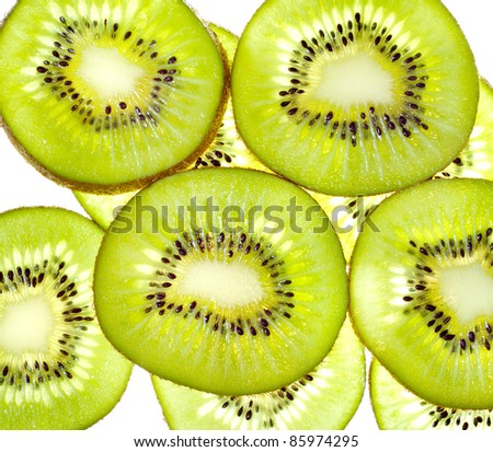 Group of slices  kiwi fruit