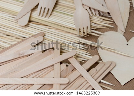 group of small wooden objects closeup