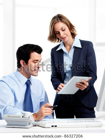 Group of smiling business people. Businessman and woman at office