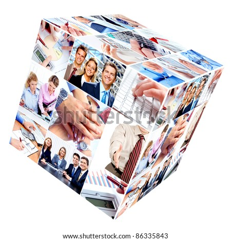 Group of smiling business people. Businessman and woman team. Collage.
