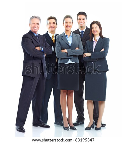 Group of smiling business people. Isolated over white background.