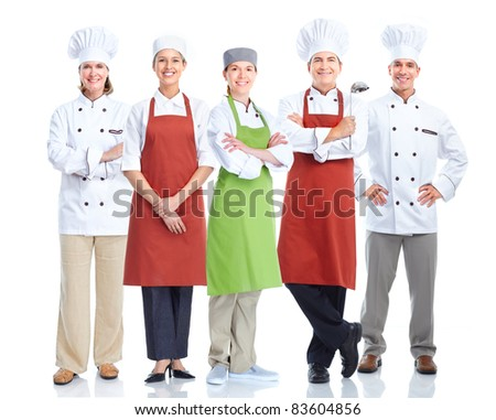 Group of smiling chefs.  Isolated over white background. Gourmet.