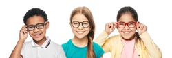 Group of smiling multiethnic kids wearing modern eyeglasses on white background. Children's vision corrective concept