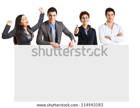 Group of smiling people showing a blank board
