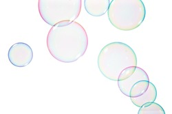 Group of soap bubbles on a white background