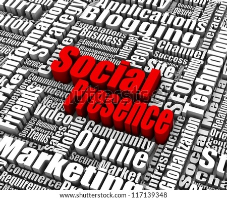 Group of Social Presence related words. Part of a business concept series.