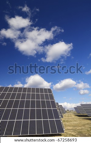 group of solar panels for production of renewable electrical energy